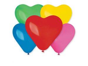 Balónek srdce 25 cm  #080 pastelový mix (100ks/bal)