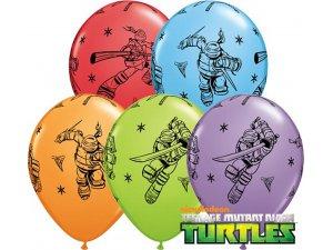 """Balónek Qualatex 11"""" potisk ŽELVY NINJA (25ks v balení)"""
