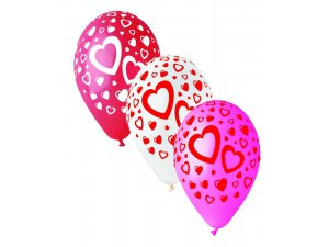 Balónek pastel 30 cm srdce velké potisk (100ks/bal)