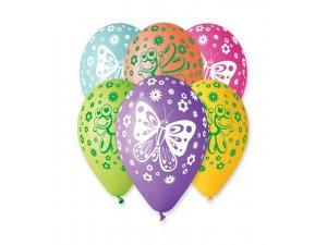 Balónek pastel 30 cm motýlci 2 potisk (100ks/bal)