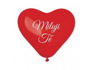 Balónek srdce 25 cm potisk MILUJI TĚ (100ks/bal)