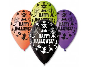Balónek pastel 30 cm Happy Halloween potisk (100ks/bal)