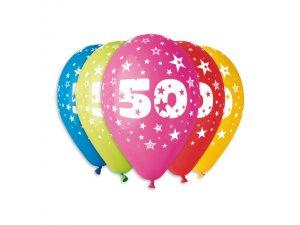 Balónek pastel 30 cm číslo 50 potisk (100ks/bal)