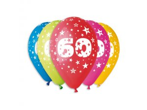 Balónek pastel 30 cm číslo 60 potisk (100ks/bal)