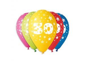 Balónek pastel 30 cm číslo 30 potisk (100ks/bal)