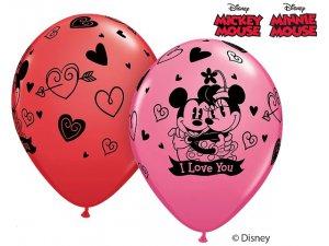 """11"""" Balónek Qualatex barva MICKEY &  MINNIE I LOVE YOU (25ks)"""