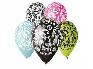 Balónek pastel 30 cm damašek potisk (100ks/bal)