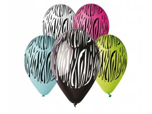 Balónek pastel 30 cm zebra potisk (100ks/bal)