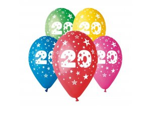 Balónek pastel 30 cm číslo 20 potisk (100ks/bal)