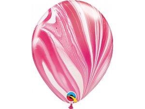"""11"""" Balónek Qualatex mramor červeno-bílý 1ks"""