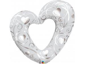 """42"""" fóliový balónek - Srdce a ornamenty perleťově-bílé"""