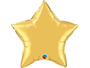 """04"""" balónek fóliová hvězda - metalická zlatá"""