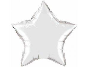 """04"""" balónek fóliová hvězda - metalická stříbrná"""