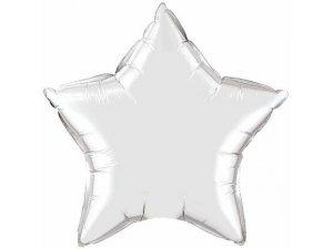 """20"""" balónek fóliová hvězda - metalická stříbrná"""