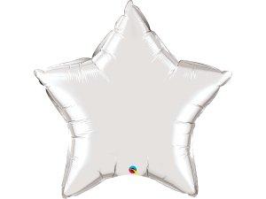 """36"""" balónek fóliová hvězda - metalická stříbrná"""