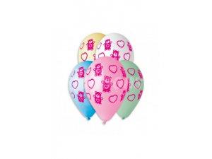 Balónek pastel 30 cm medvídci se srdíčky potisk (100ks/bal)