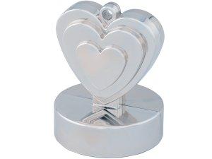 Závaží na balónky srdce stříbrné