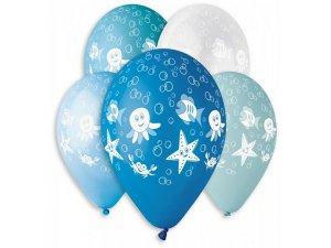 Balónek pastel 30 cm MOŘSKÝ SVĚT potisk (100ks/bal)