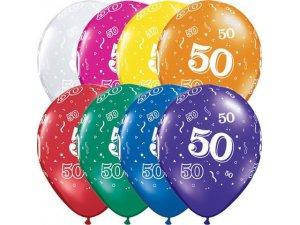 """Balónek Qualatex 11"""" potisk číslo 50 (6ks v balení)"""