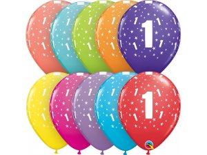 """Balónek Qualatex 11"""" potisk číslo 1 (6ks v balení)"""