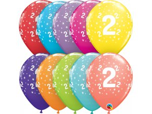 """Balónek Qualatex 11"""" potisk číslo 2 (6ks v balení)"""