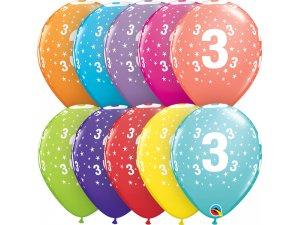 """Balónek Qualatex 11"""" potisk číslo 3 (6ks v balení)"""