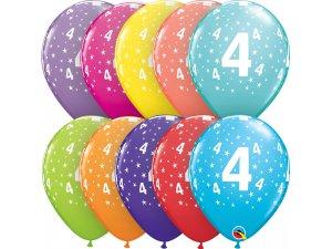"""Balónek Qualatex 11"""" potisk číslo 4 (6ks v balení)"""