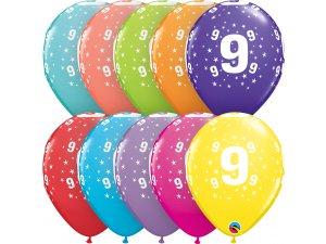 """Balónek Qualatex 11"""" potisk číslo 9 (6ks v balení)"""