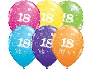 """Balónek Qualatex 11"""" potisk číslo 18 (6ks v balení)"""