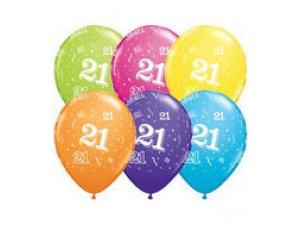 """Balónek Qualatex 11"""" potisk číslo 21 (6ks v balení)"""