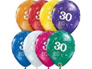"""Balónek Qualatex 11"""" potisk číslo 30 (6ks v balení)"""