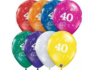 """Balónek Qualatex 11"""" potisk číslo 40 (6ks v balení)"""