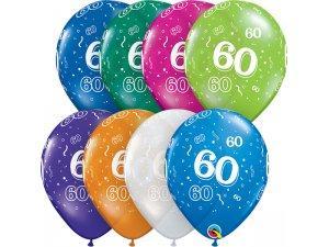 """Balónek Qualatex 11"""" potisk číslo 60 (6ks v balení)"""