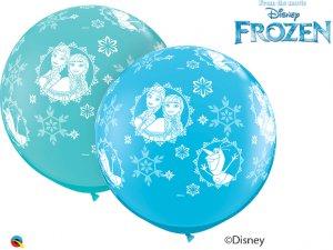 3'  Balón Qualatex Anna,Elsa & Oalf-A-Round