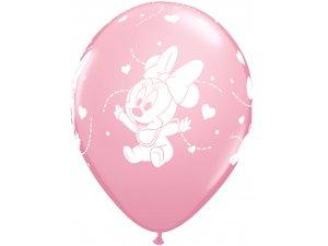 """12"""" Balónky Qualatex Disney Baby Minnie Stars (6ks v balení)"""