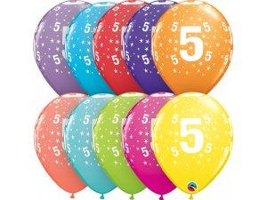 """Balónek Qualatex 11"""" potisk číslo 5 (6ks v balení)"""