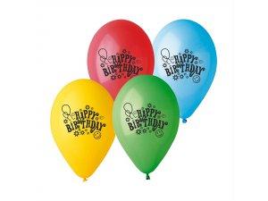 "Balónek potisk Happy Birthday! (26cm/10"") pastel (100ks/bal)"
