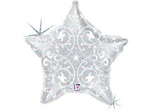 """21"""" Ornamenty Stříbrná hvězda"""