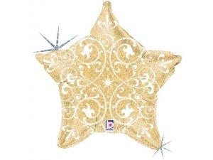 """21"""" Ornamenty Zlatá hvězda"""