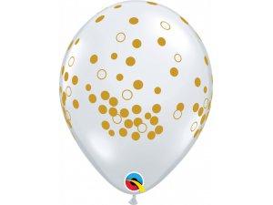 """Balónek Qualatex 11"""" - potisk Konfety zlaté (25 ks/bal)"""