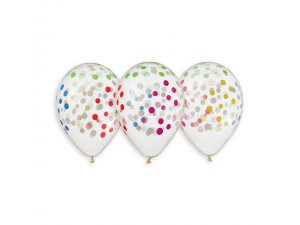 Balónek pastel 32 cm konfety transparentní potisk (50ks/bal)