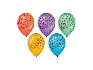Balónek pastel 32 cm potisk konfety krystalové (50ks/bal)