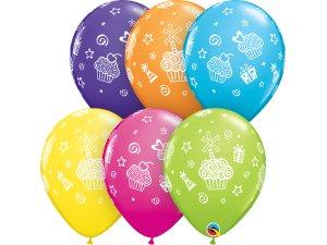 "Balónek Qualatex 11"" potisk tropický - Dárky a Cupcake (25ks v balení)"
