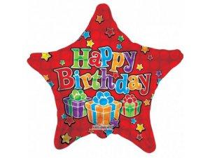 Hvězda 46cm - HAPPY BIRTHDAY červená