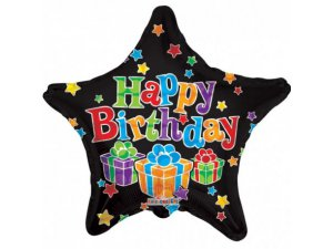 Hvězda 46cm - HAPPY BIRTHDAY černá