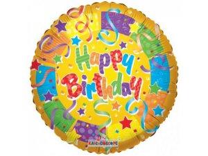 Kruh 45cm žlutý BIRTHDAY barevné konfety