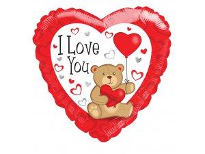 Srdce 46cm - Medvídek I Love You