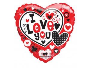 Srdce 46cm - I Love You srdíčka