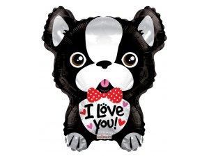 Balónek 46cm - Francouzský buldoček I Love You
