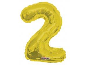 Číslice 2 zlatá malá 35 cm
